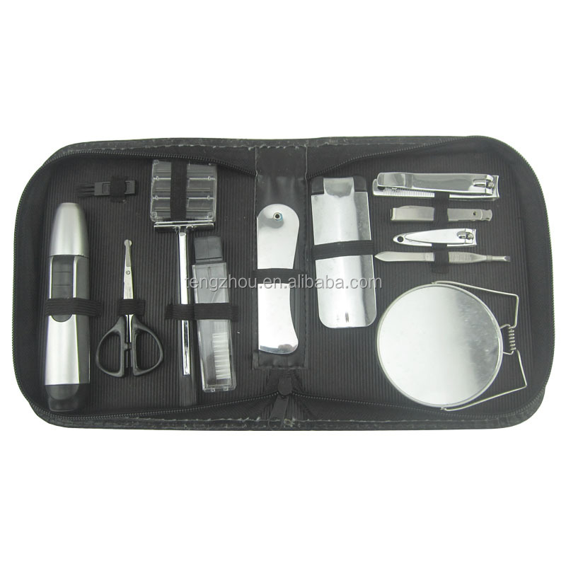 Wholesale professional PU box packing Travel Grooming Kits 13pcs mens manicure set