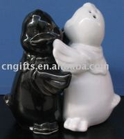 ceramic cruet set black and white chick salt and pepper shaker with tray