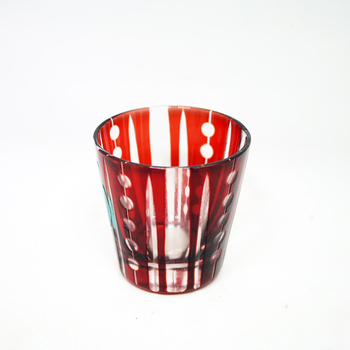 65ml Wholesale Red Colored Engraved Glass Tumbler Tea Cup