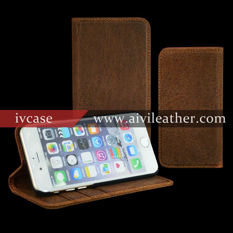 Genuine Leather Phone Case Factory For Iphone 6 Plus Wallet Leather Case
