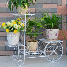 Indoor Decorative Wrought Iron Metal Shelves Display Stands For Flower Pots