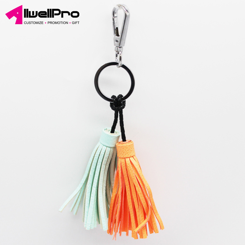 Hot Selling Creative Woman Gifts Double Tassel PU Leather Key Ring