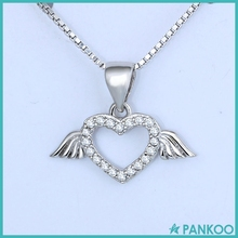 Wholesale 925 sterling silver heart shaped rhinestone angel wing necklace for girlfriend