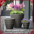 S&D Classic round shaped outdoor decorative garden coffee shop flower pots rattan wicker ceramic planters set of 3