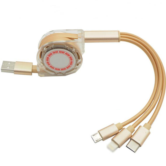 Gold Retractable Pure Copper USB Tpye-c Charging Cable Wire Low Prices
