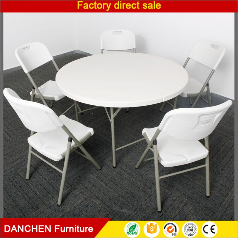 80Cm White Resin Round Folding Table