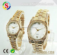 New Fashion Women Men Quartz Stainless Steel Watch Rhinestones Couple Wrist Watches Lovers Watches