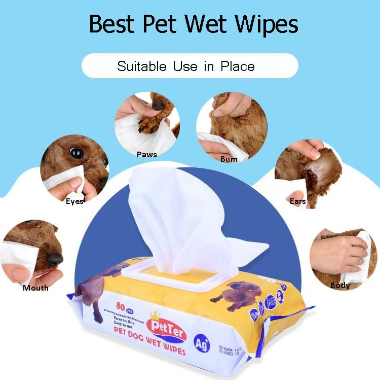 OEM Dog Antibacterial Deodorising Wipes Animal Wipes