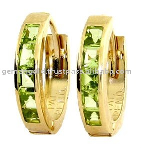 14K. SOLID GOLD HOOP HUGGIE EARRING WITH PERIDOTS