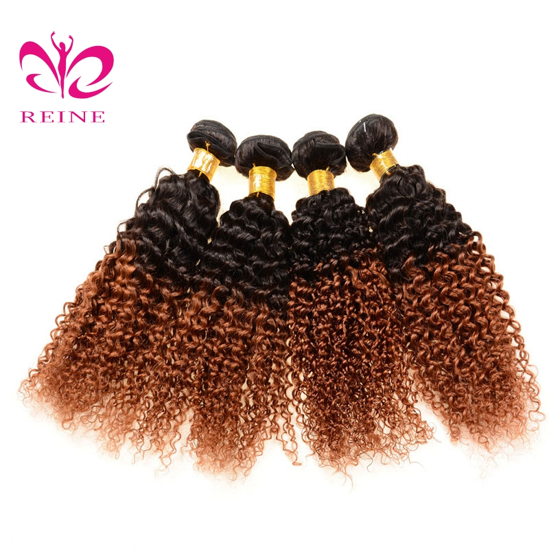 Best Selling Products Malaysian Virgin Hair Bundles T1B/30 Ombre Curly Weave Hair