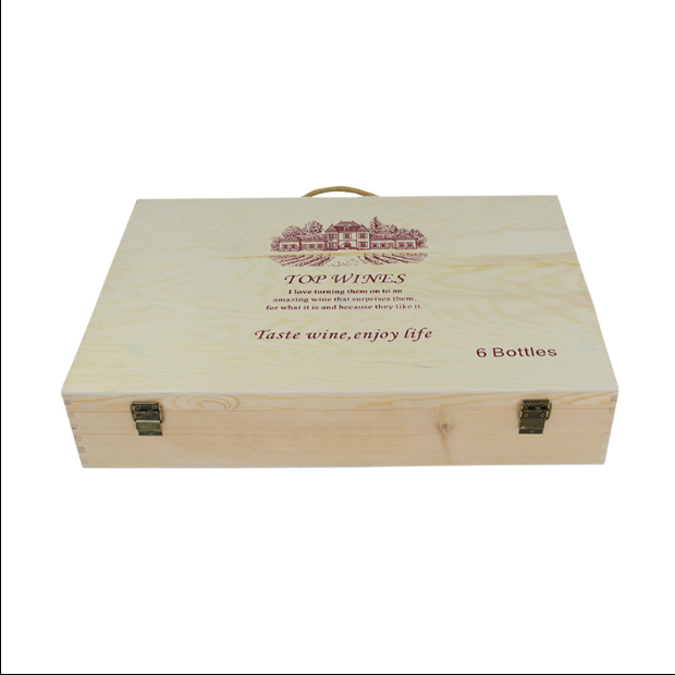 Cheap customized red wine box 6 battles high quality wood wine gift box