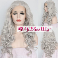 Wholesale Cheap 20 Inch Heat Resistant Fiber Hair Silver Grey Curly Middle Part Lace Front Synthetic Wig for White Women