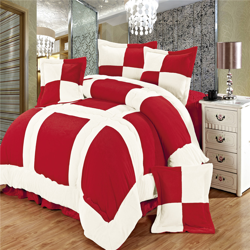 Home Textile red 4pcs/6pcs Comforter bed set duvet cover