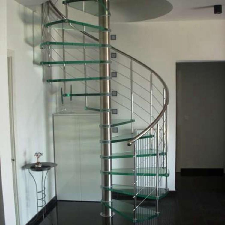 Trendig Moderne Innen Vorfertigen Edelstahl Glas Wendeltreppe Preis mit  ZT32