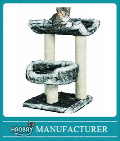 Cat Kitten Furniture Wood Treehouse Scratching Post Climbing Cushion Play Bed
