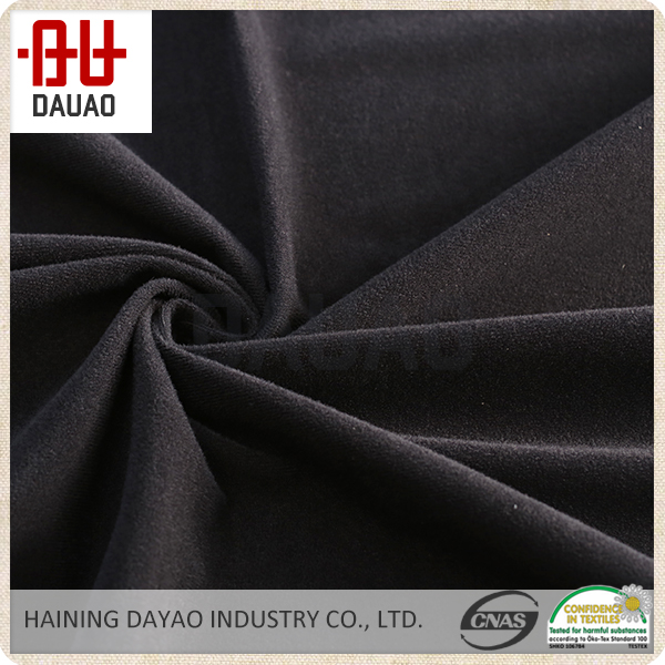 Black cotton polyester knitted low pile fabric for sportwear