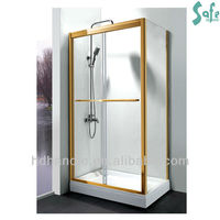 Golden shining hotel use free standing shower enclosure