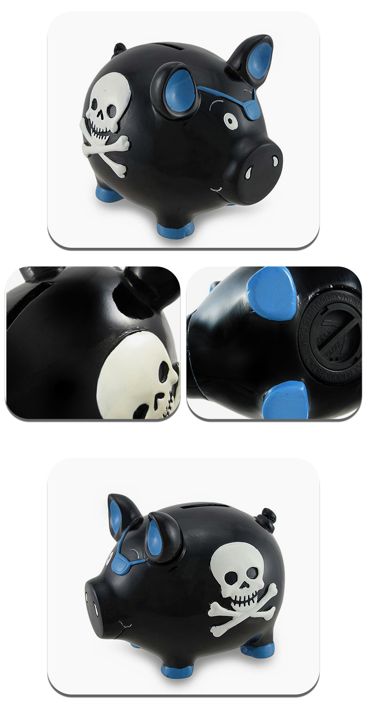 Cheap price Custom logo cartoon creative Black and Blue Pirate Pig Hand painted Polyresin Coin Bank Pig Bank