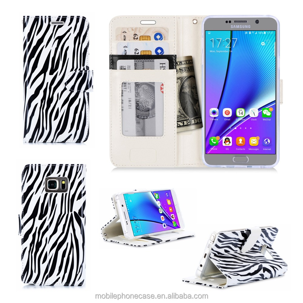 Fashionable Zebra Printing PU Leather Custom Phone Case Cover For Samsung Galaxy Note 5