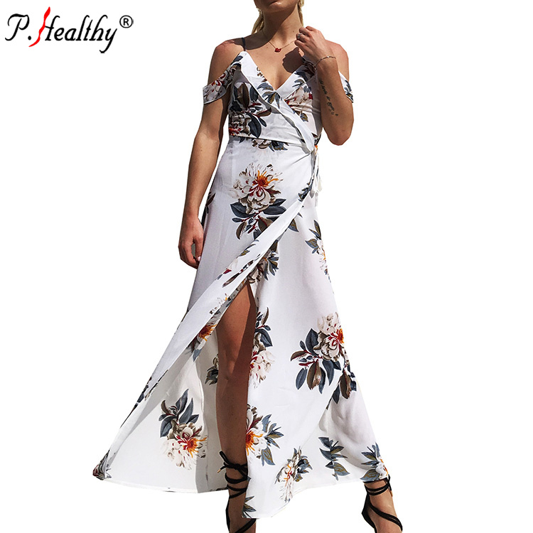 <strong>Sexy</strong> women's V-neck printing leakage shoulder beach dress seaside vacation irregular fork long dress