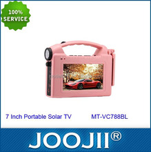 New 7inch Portable Solar TV with ATSC, DVBT ISDB-T digital TV turner