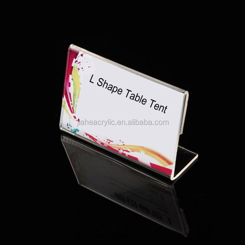 L shape table tent card stand custom acrylic plastic menu holder