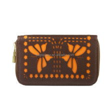 Fashion Hollow Out Butterfly Zip Around Wallets Dual Colors Purses