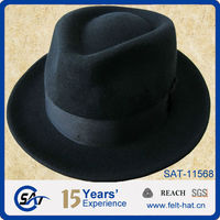 Black 100 wool Fedora hat