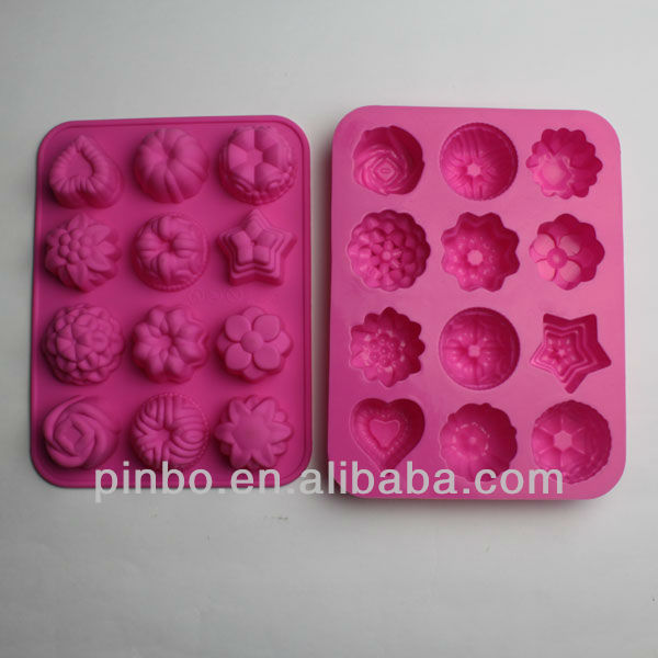 12-Cavity Floral Leaf Silicone Cake Soap Decoration Mold