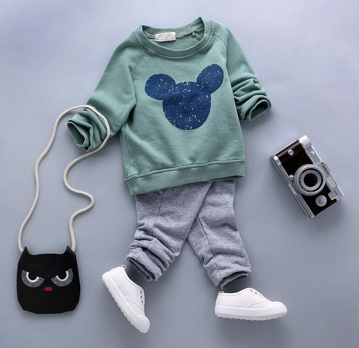 Direct selling autumn kid boys and girls clothes sets popular Cotton long sleeve T-Shirt Pant garment Suits