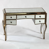 MR-401051C Antique Gold Distressed Mirrored Dressing Table / Sideboard