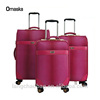 pink PU leather luggage bag suitcase with four wheel