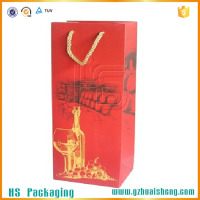 Matte red color printed wine bottle paper bag with twist handle