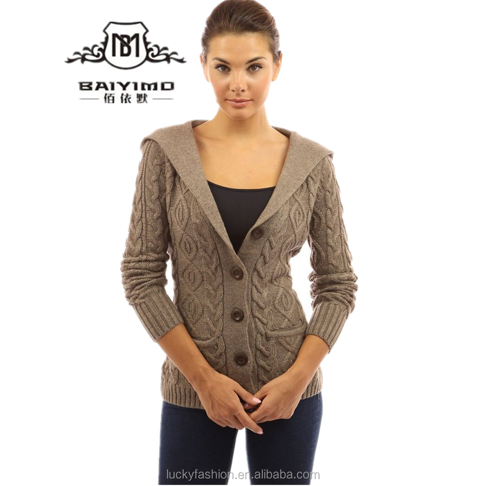 Women's Wool Blend Hooded Cable Cardigan Sweater Design For Girl