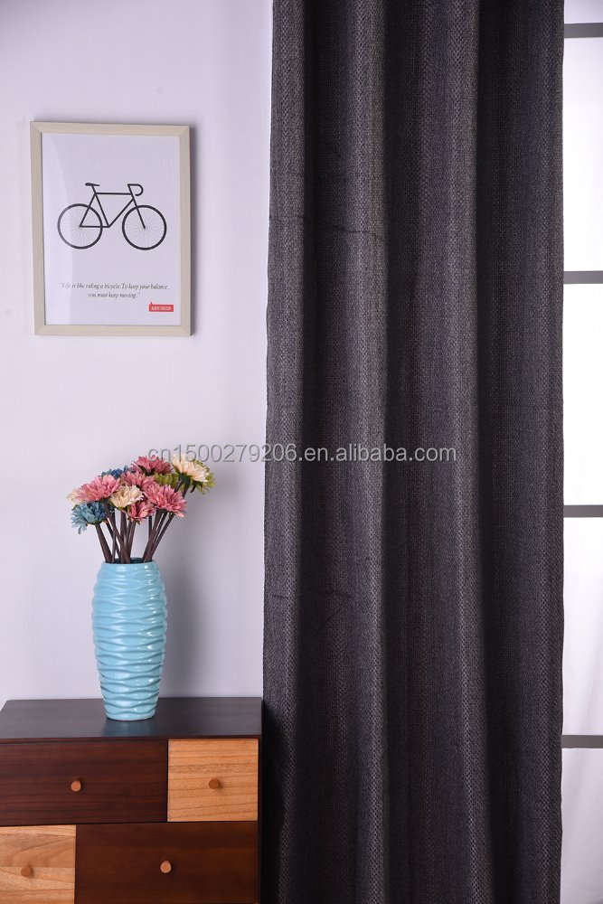 New design Luxury Blackout linen Fireproof Soundproof Fabric Curtain