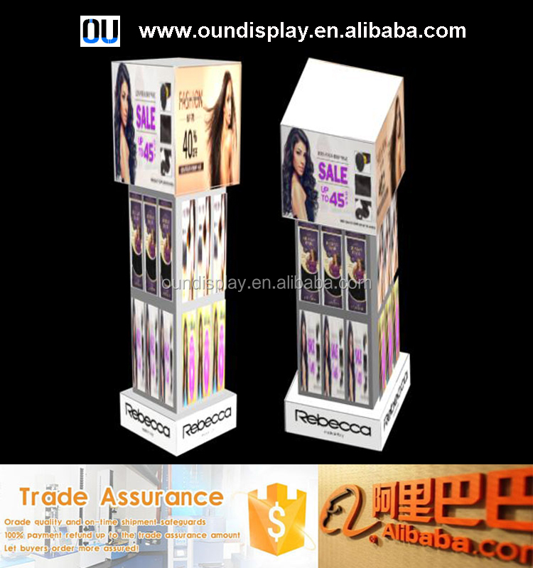 Brazilian human hair wigs display stand acrylic hair extension packaging display
