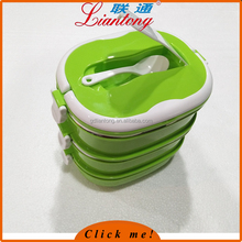 Hot Sale Stainless steel thermal insulated lunchboxes Rectangular shape lunch box with Spoon