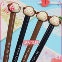 Best seller Alibaba personalized stationery ,Funny monkey shaped plastic pen,custom logo gel pens small moq