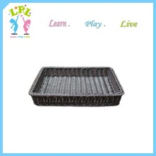 Woven washable plastic rattan vegetable storage baskets for supermarket synthetic rattan basket