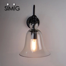 decoration antique glass Bells lampshade E27 wall lamp with Edison light bulb