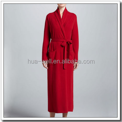 Red knitting long sleeve cashmere bathrobe for women
