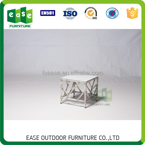 Luxury outdoor furniture aluminum bamboo look rattan side table E9816