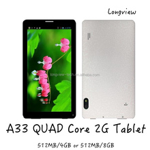 "7"" phablet Android 4.4 KitKat Quad Core 2G phone call 7inch tablet PC A33 BT front and rear Cameras"