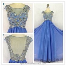 2017 Hot Sale Sexy Royal Blue Beaded Chiffon Floor-length Bridesmaid Dresses
