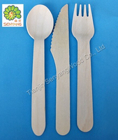 cello wrapped disposable wooden spoon/ fork /kinfe