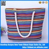 China wholesale women stripe canvas zipper beach tote bags