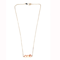 Simple gold long chain necklace designs with pearls for ladies