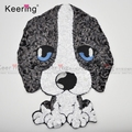 Hot-sale Customs KEERING Cool White and Black Dog Reversible Sequin Embroidery Applique Patches for Clothes WEFB-498