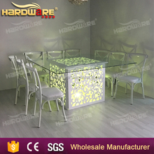 wooden led square glass top dining table for wedding banquet , night pub