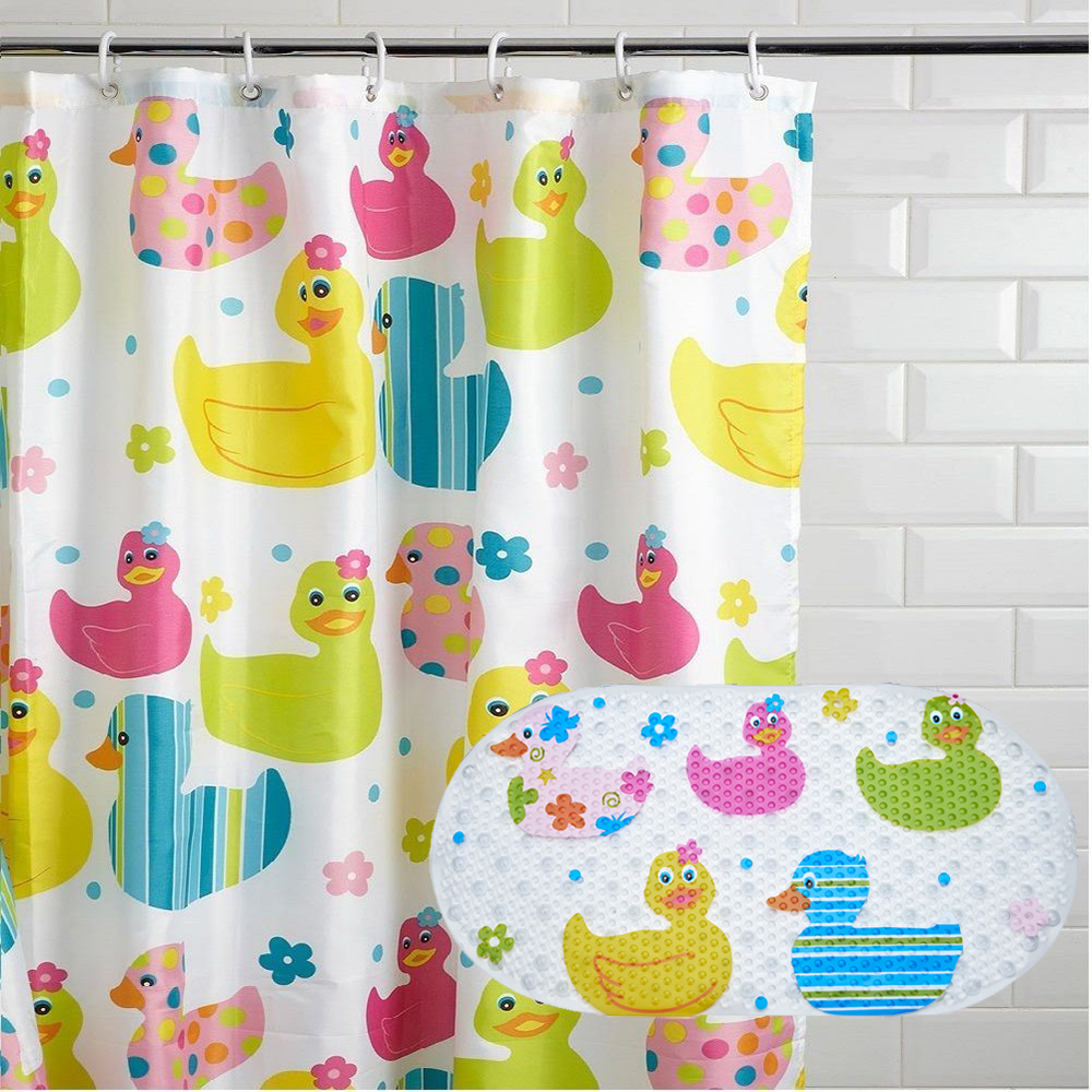 Hot Selling Custom Print PVC Matching Shower Curtain and Bath Mat Sets for Bathroom